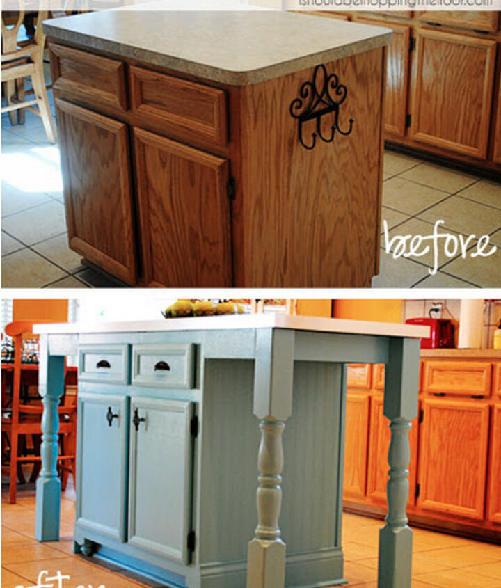 Our made-over kitchen island. From builder-grade to custom.