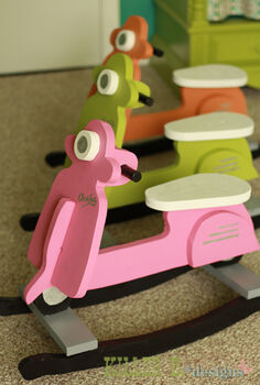 diy baby rocking scooters, painted furniture, woodworking projects, Baby Scooter Rocking Toy for 10