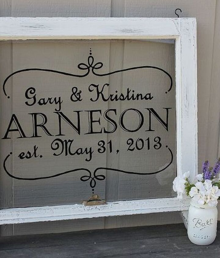Hand Painted wedding sign on vintage window