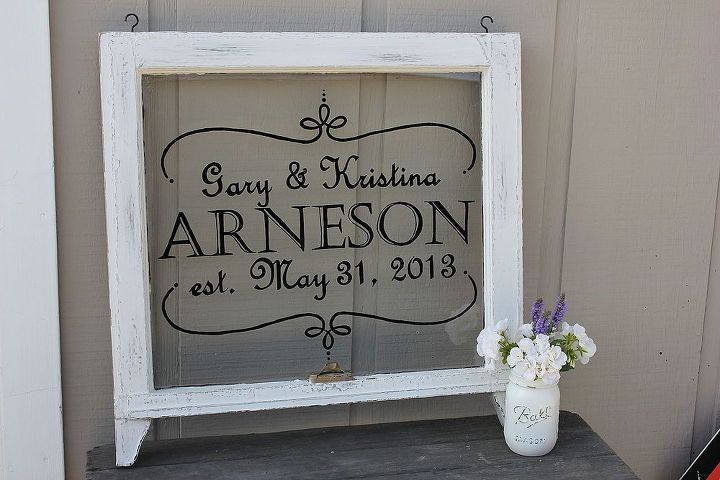 Hand Painted wedding sign on vintage window