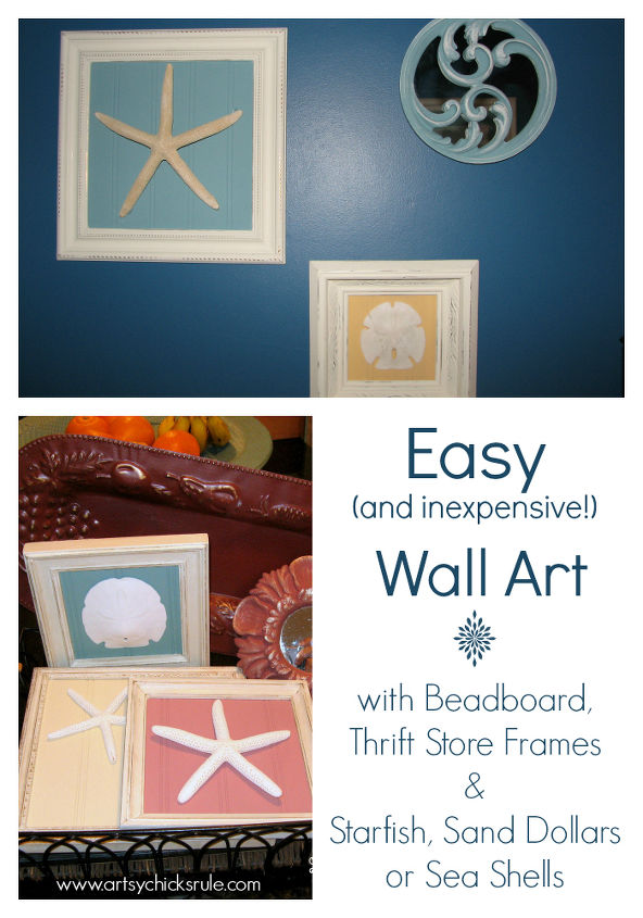 Old thrift store frames, scrap pieces of beadboard (or anything really for the backing, such as fabric, paper, etc) and Sand Dollars, Sea Shells or Starfish make for an easy & inexpensive idea for home decor.