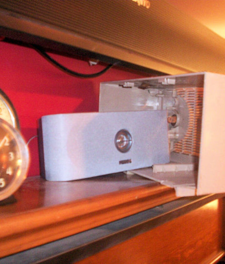 The challenge was to find a radio that would fit the speaker and also fit underneath the TV