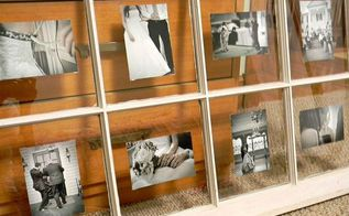 using an old window to display photos, crafts, repurposing upcycling, The easiest way to hang your window on the wall is by attaching D hooks to the window and using heavy duty Monkey Hooks This will also keep there from being a large hole if you decide to move it later
