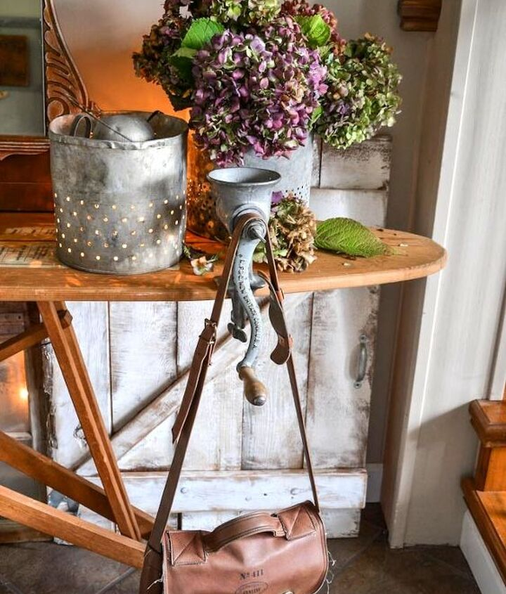 when gathered random junk becomes an entry table, foyer, home decor, painted furniture, repurposing upcycling