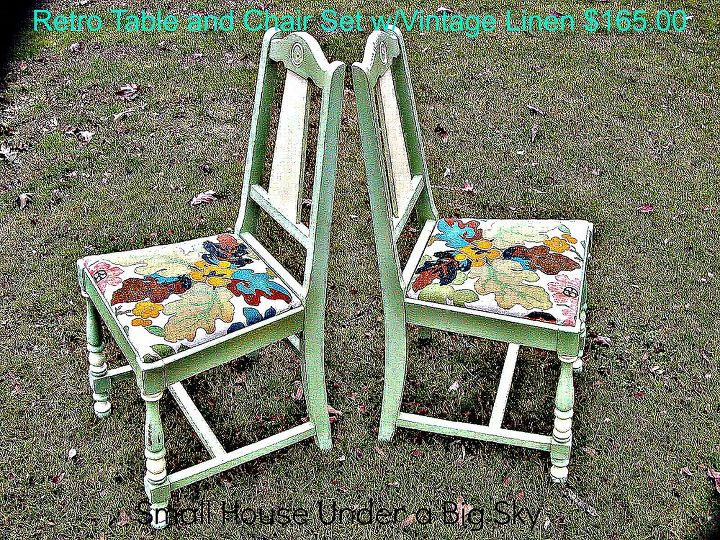 Two vintage chairs painted and waxed with chalk paint with recovered using vintage linen fabric from vintage curtains.