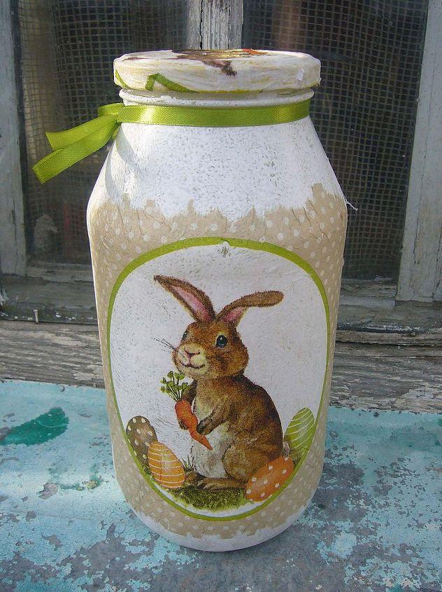 decoupage ideas bunny jar, crafts, decoupage