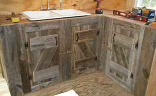 kitchen cabinets made from reclaimed salvaged barnwood, diy, home improvement, kitchen backsplash, kitchen cabinets, kitchen design, repurposing upcycling, woodworking projects, I loved designing the doors