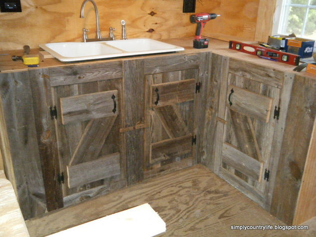 Kitchen Cabinets Made From Reclaimed Salvaged Barnwood Diy Home Improvement Backsplash