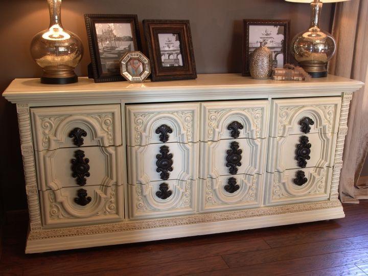 huge ugly brown dresser makeover, painted furniture