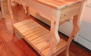 a sofa hall table made from re cycled wood, painted furniture, pallet, woodworking projects, Table all put together made from all recycled wood Top was made from Wood Floor Sides and Shelf Made from Scrap Pallet wood and legs made from scrap pieces of 2x6 Read the full tutorial here