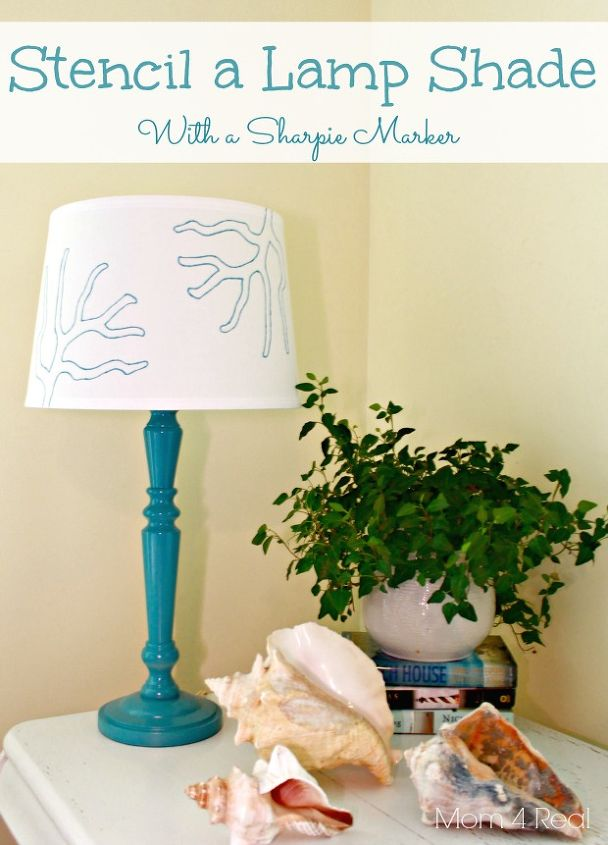 stencil a lampshade with a sharpie marker, crafts, lighting, Stenciled lampshade