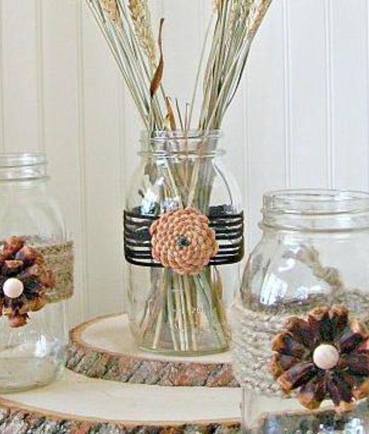 We created these beautiful pine cone flowers to embellish the ever popular mason jars. Creating unique fall vases and centerpieces.