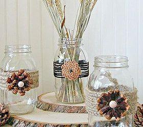 creating pine cone flowers for fall decorating, crafts, mason jars,  seasonal holiday decor