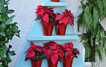 diy poinsettia tree shelf wreath chandelier and my christmas porch, christmas decorations, crafts, seasonal holiday decor, wreaths, Poinsettia Tree Shelf