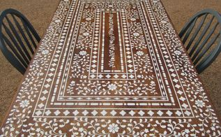 stenciled tables, painted furniture, Indian Inlay table after