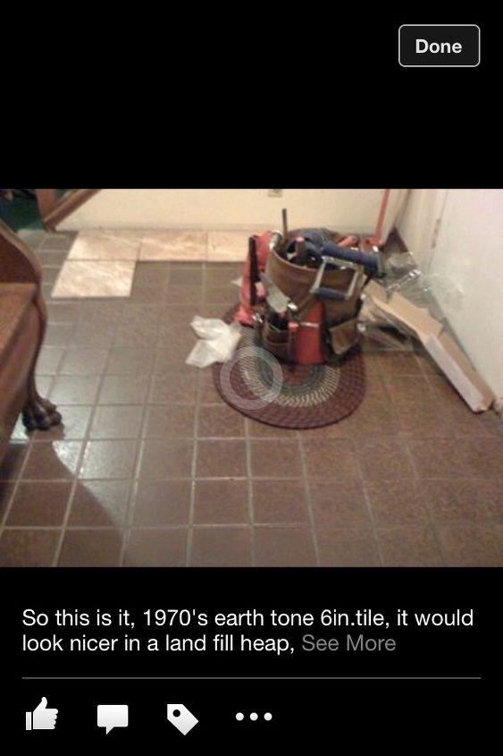 entry re do, diy, flooring, foyer, tile flooring, tiling, Old original tile from 1973