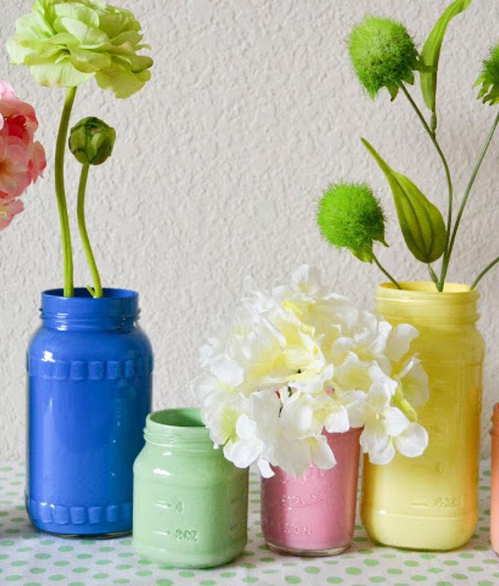 DIY Pastel Painted Mason Jars