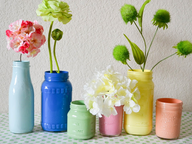 DIY Pastel Painted Mason Jars