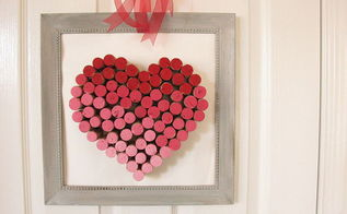 diy wine cork heart, crafts, seasonal holiday decor, valentines day ideas, Place in a frame and enjoy