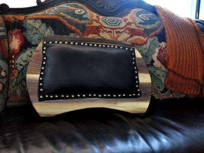 walnut and leather lap desk, crafts, Black Leather back