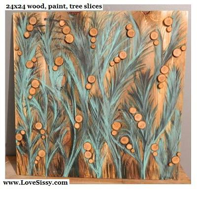 tree branch slice art--paint then stick on the slices.
