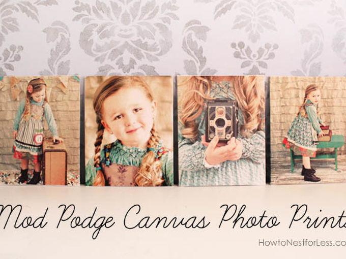 mod podge canvas photo prints, crafts, decoupage