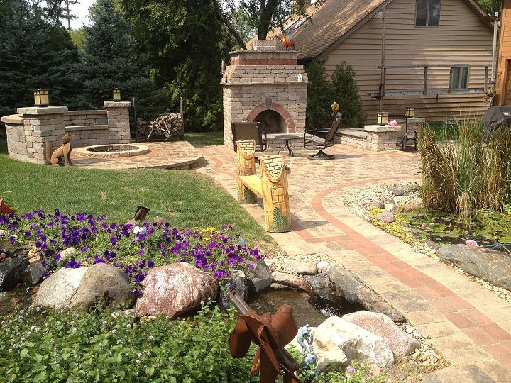 his and her fire places, concrete masonry, landscape, outdoor living, Brick fire place and fire pit Next to enlarged pond and waterfall in Roselle IL