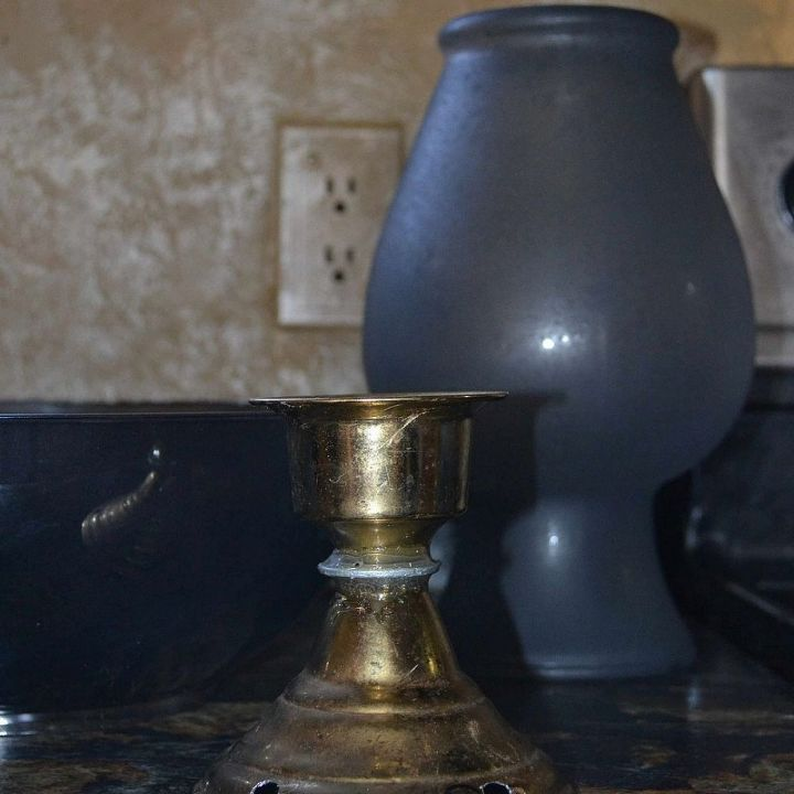 Bowl and vase painted and candlestick holder was using showing example of holes drilled in for water flow.