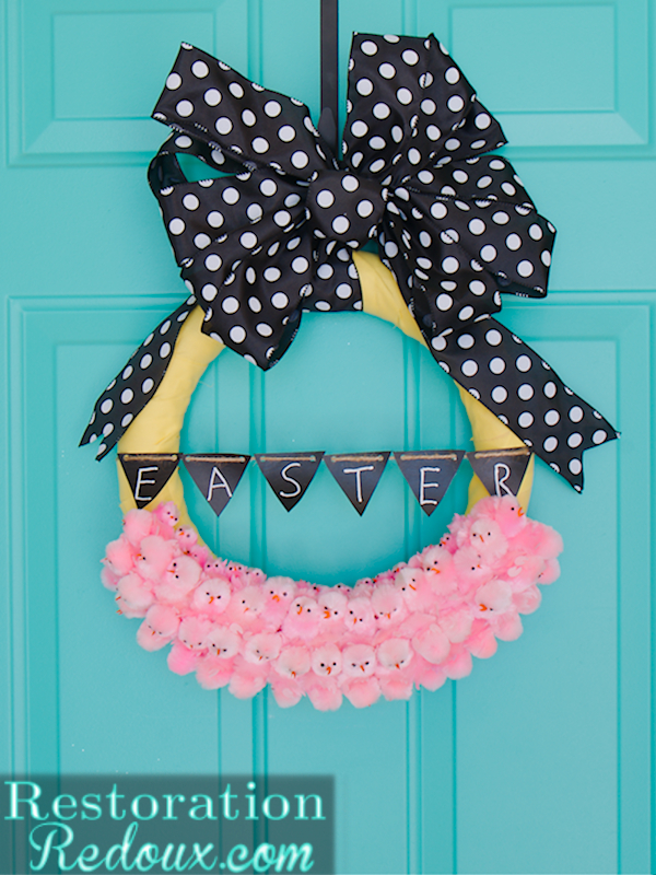 easter peeps wreath, chalkboard paint, crafts, easter decorations, seasonal holiday decor, wreaths, Easter Peeps Wreath