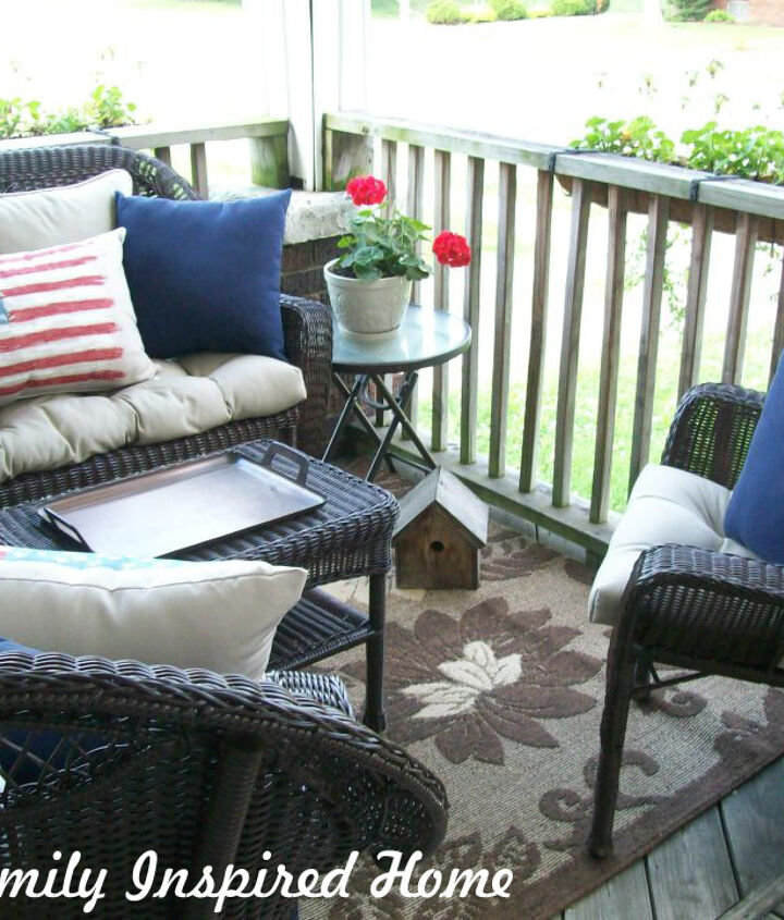 front porch, outdoor furniture, outdoor living, painted furniture, patriotic decor ideas, porches, seasonal holiday decor