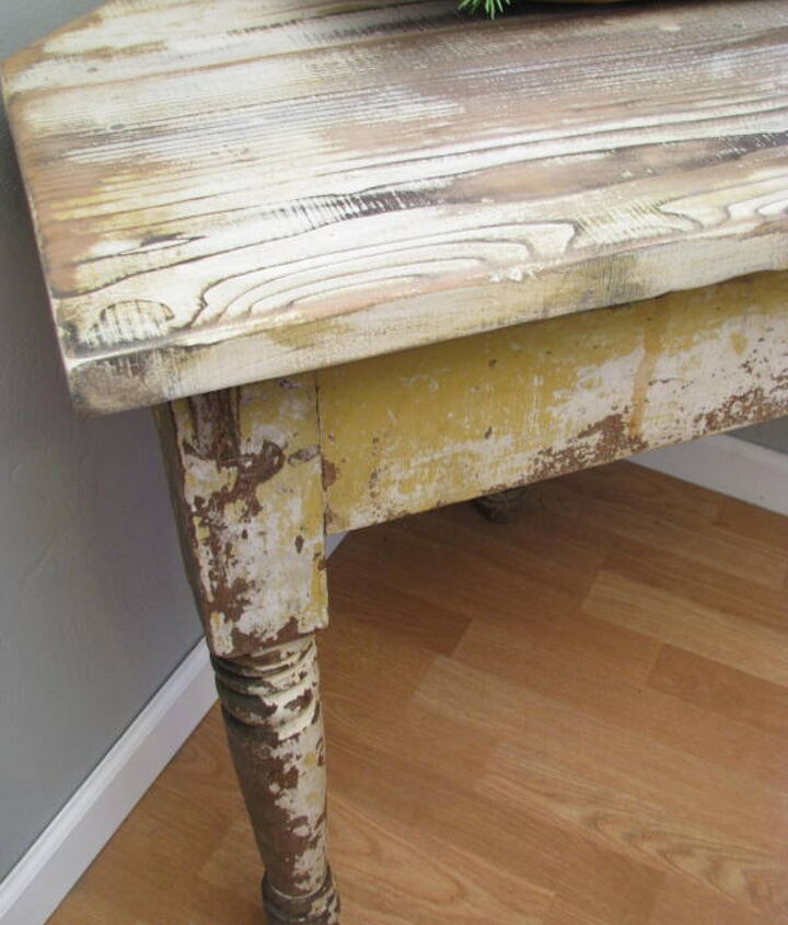 chippy corner table from salvaged parts, diy, how to, painted furniture, woodworking projects