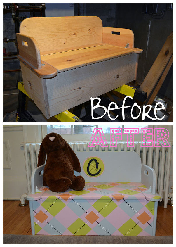 argyle toy box, home decor, painted furniture, The before and after