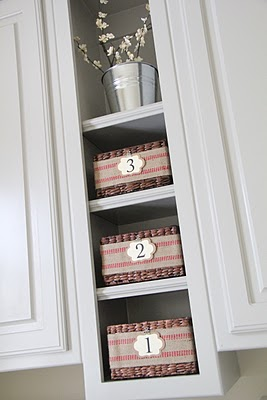 Gray Cabinets with Baskets