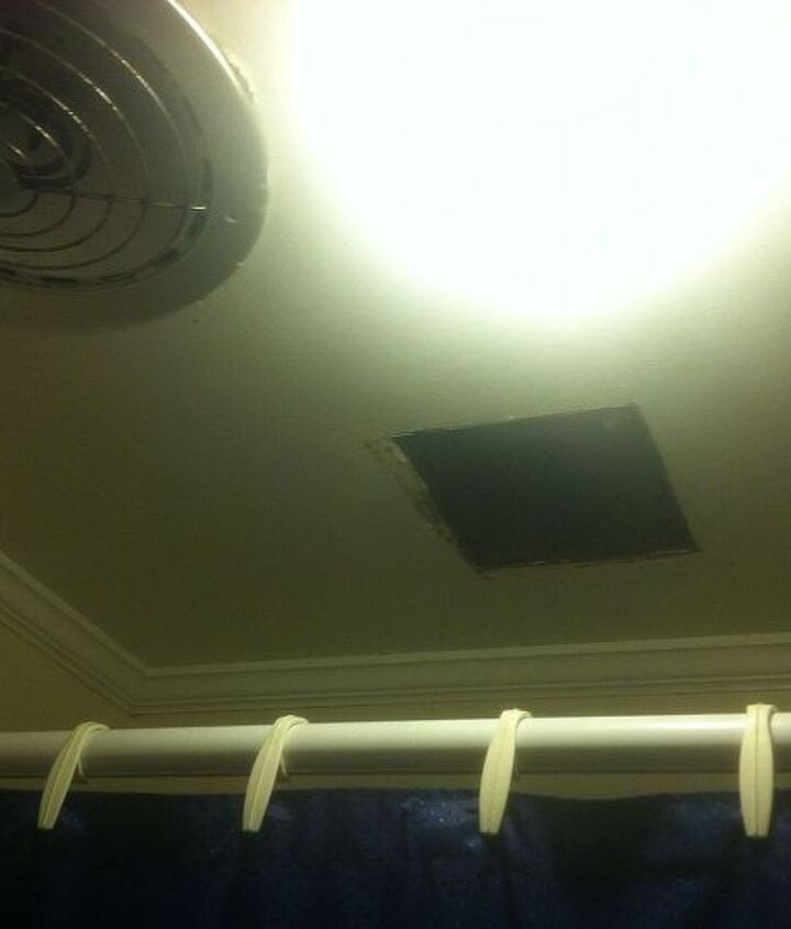 Location of the existing fan over the shower