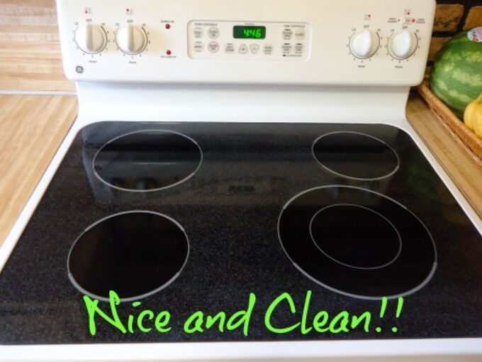 cheap and easy trick for cleaning a smooth stovetop, appliances, cleaning tips