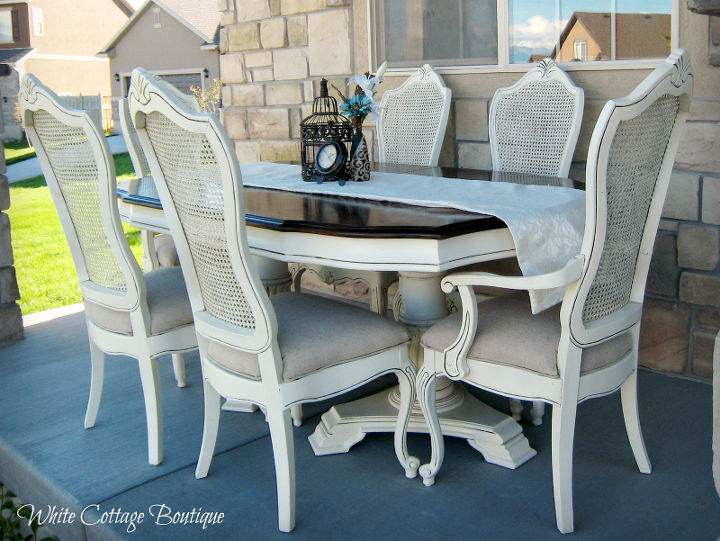 restored cane dining set, painted furniture