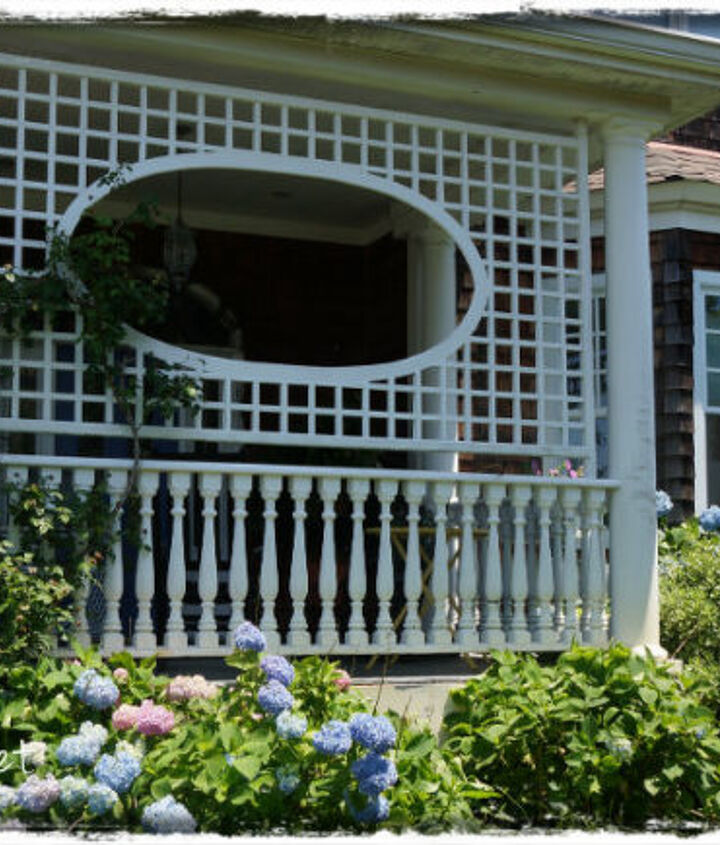 lattice trellis on the porch for climbing roses