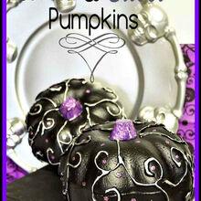 some glam for foam pumpkins, crafts, halloween decorations, seasonal holiday decor