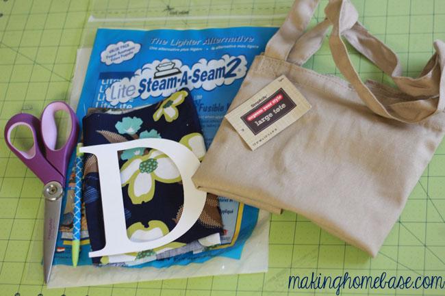 monogram tote bag, crafts