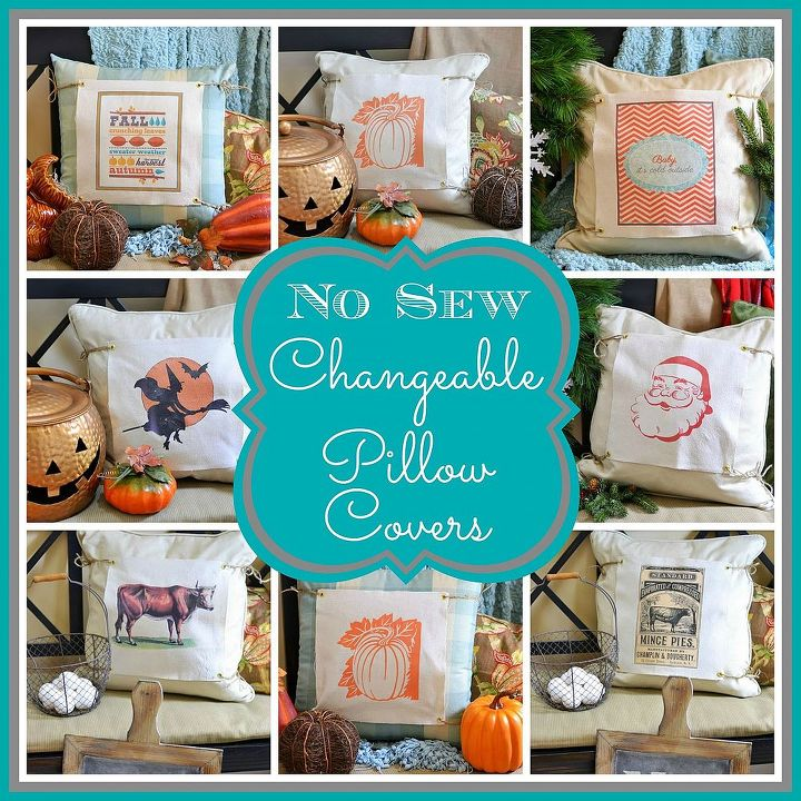 no sew changeable pillow covers, christmas decorations, crafts, halloween decorations, seasonal holiday decor, Collage of changeable pillow covers