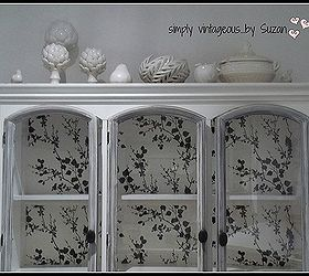 restoring a buffet hutch with wallpaper painted furniture repurposing upcycling