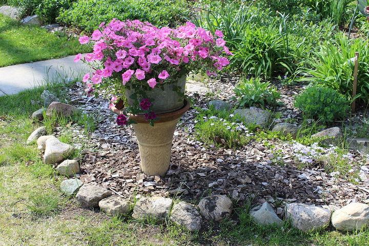 repurposing old bird bath base as planter, gardening, repurposing upcycling