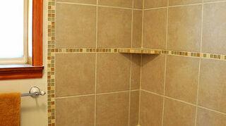 q how to replace fiberglass tub shower insert w cast iron tub and tile, bathroom ideas, home improvement, Corner shelves