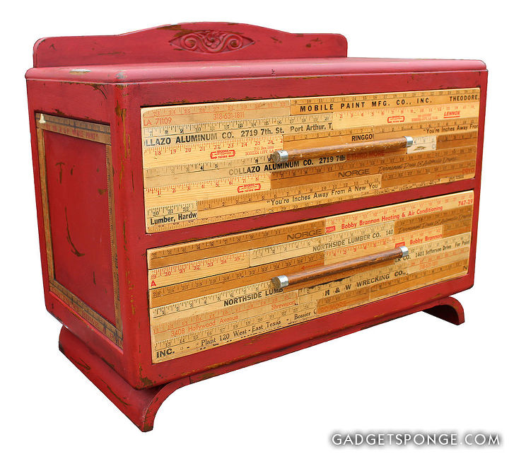 overhauled vintage nightstand vintage yardsticks, chalk paint, outdoor furniture, painted furniture