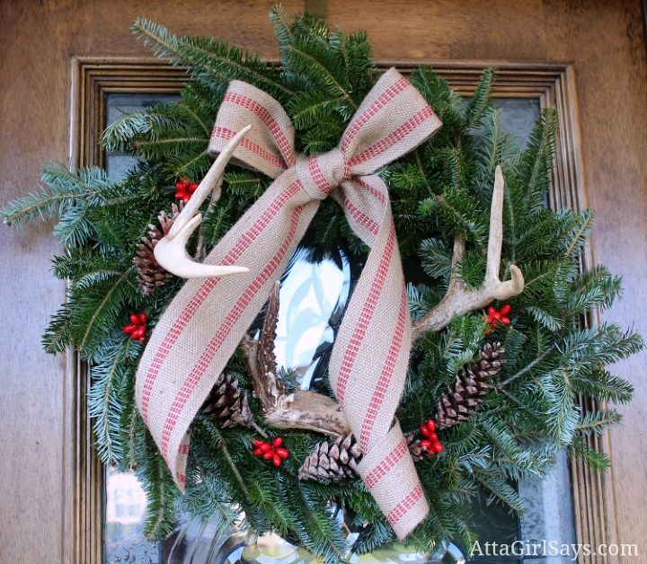 wreaths for every season, christmas decorations, crafts, doors, halloween decorations, seasonal holiday decor, wreaths, Evergreen and Antlers Christmas wreath with jute webbing