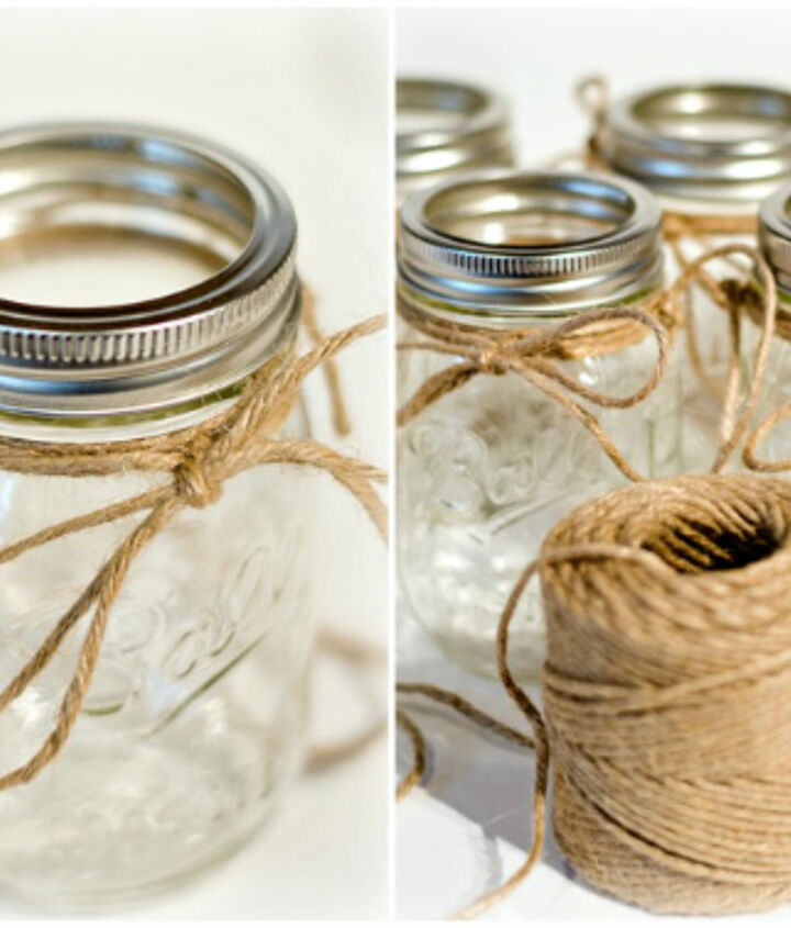 I used some jute rope and wrapped it around the top of each jar.  Then I took a longer piece for the jars to hang from and tied it on each side, making a knot.