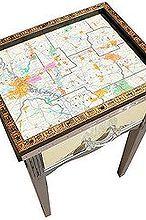 shreveport louisiana map overhauled telephone table, painted furniture, Upcycled Shreveport Louisiana Map Telephone Table by GadgetSponge com
