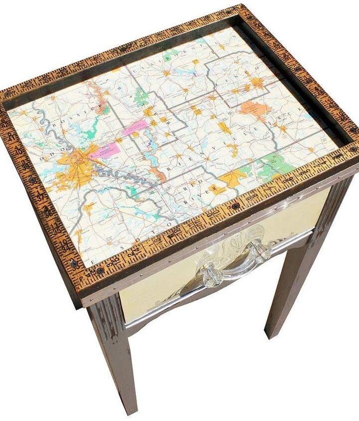 Upcycled Shreveport, Louisiana Map Telephone Table by GadgetSponge.com