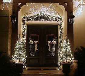 U Christmas Porch And Front Door Garland Diy Decorations Curb  Appeal Doors