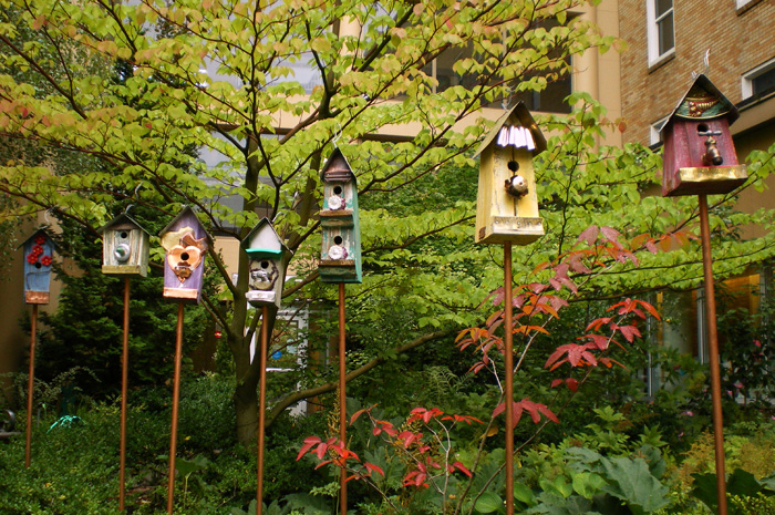 Multiple birdhouses can add a splash of color and depth to your garden. You must make sure the birds that would reside in this type of house will get along though! No one wants a feathered quarrel.
